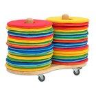Mobiler Kissenwagen mit 32 runden Donut-Sitzkissen Ø 35 cm
