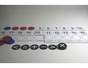 Lehrer-Rechenleiste mit 22 magnetischen Wendeplättchen rot/blau und 10 Rechenzeichen