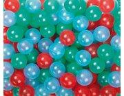 Spiel- und Ballkugeln 60mm, 500er Beutel, transparent R/Gr/Bl