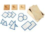 15 verschiedene Grundtäfelchen in einem Kasten