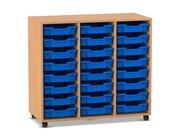 Flexeo Regal PRO Buche dunkel, mit 3 Reihen und 24 kleinen Boxen blau, Rollen