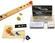 Geografie-Set 3: Weltall, Planeten: Planeten m. Tablett, Namenskarten, Planeten-Rätsel m. Selbstkontrolle (Klassenset)