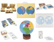 Geografie-Set 2: Erdteile: Stempel u Puzzle der Erdteile, Namenskärtchen, Globus, Kontrollkarte, Tiere aus aller Welt