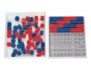 Mathebox, Steckwürfel-Multibox mit 100 Stück (rot/blau, 17mm) und Einlegeblättern