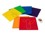 Satz mit 6 Geometriebrettern in Regenbogenfarben, 5-12 Jahre