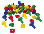 Bolzen und Muttern, Kunststoff 4 Farben sortiert - 64 Stück im Beutel, ab 3 Jahre