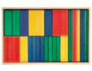 Set Holzkasten: Inhalt 34 Teile, Buche farbig gebeizt