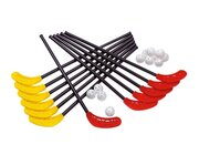Unihockey-Satz, 6 rote und 6 gelbe Schläger