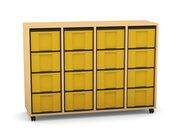 Flexeo Regal mit 4 Reihen, Dekor Buche hell, Rollen, 16 hohe Schubladen gelb