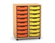 Flexeo Regal PRO mit 2 Reihen, Rollen, inkl. 16 kleine Boxen orange/gelb, Dekor: Buche hell