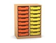 Flexeo Regal PRO mit 2 Reihen und 16 kleinen Boxen Dekor Buche hell, Sockel, Boxen orange gelb