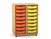 Flexeo Regal PRO mit 2 Reihen und 16 kleinen Boxen Dekor Buche hell, Stellfüße, Boxen orange gelb