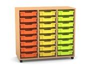 Flexeo Regal PRO mit 3 Reihen, Rollen, inkl. 24 kleine Boxen orange/gelb/grün Dekor: Buche hell