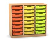 Flexeo Regal PRO mit 3 Reihen und 24 kleinen Boxen Dekor Buche hell, Sockel, Boxen orange gelb grün