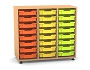 Flexeo Regal PRO mit 3 Reihen und 24 kleinen Boxen Dekor Buche hell, Stellfüße, Boxen orange gelb grün