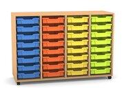 Flexeo Regal PRO mit 4 Reihen, Rollen, inkl. 32 kleine Boxen orange/gelb/grün/hellblau Dekor: Buche hell (Lieferzeit ca. 10-12 Wochen)