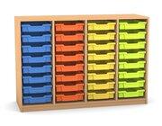 Flexeo Regal PRO mit 4 Reihen und 32 kleinen Boxen Dekor Buche hell, Sockel, Boxen orange gelb grün hellblau