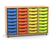Flexeo Regal PRO mit 4 Reihen und 32 kleinen Boxen Dekor Buche hell, Stellfüße, Boxen orange gelb grün hellblau (Lieferzeit ca. 10-12 Wochen)