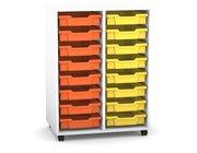 Flexeo Regal PRO mit 2 Reihen, Rollen, inkl. 16 kleine Boxen orange/gelb, Dekor: weiß