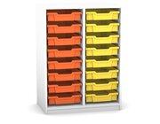 Flexeo Regal PRO mit 2 Reihen und 16 kleinen Boxen Dekor weiß, Sockel, Boxen orange gelb