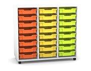Flexeo Regal PRO mit 3 Reihen, Rollen, inkl. 24 kleine Boxen orange/gelb/grün Dekor: weiß