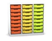 Flexeo Regal PRO mit 3 Reihen und 24 kleinen Boxen Dekor weiß, Sockel, Boxen orange gelb grün