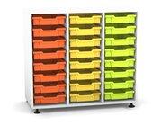 Flexeo Regal PRO mit 3 Reihen und 24 kleinen Boxen Dekor weiß, Stellfüße, Boxen orange gelb grün