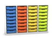 Flexeo Regal PRO mit 4 Reihen und 32 kleinen Boxen Dekor weiß, Sockel, Boxen orange gelb grün hellblau (Lieferzeit ca. 10-12 Wochen)