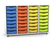 Flexeo Regal PRO mit 4 Reihen und 32 kleinen Boxen Dekor weiß, Stellfüße, Boxen orange gelb grün hellblau (Lieferzeit ca. 10-12 Wochen)