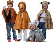 Zirkustiere, 4 Tierkostüme im Set, 3-8 Jahre