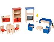 Möbel für Puppenhaus, 23 Teile aus Holz, ab 3 Jahre