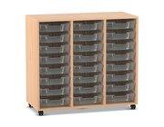 Flexeo Regal PRO mit 3 Reihen und 24 kleinen Boxen transparent, Dekor Buche hell mit Rollen