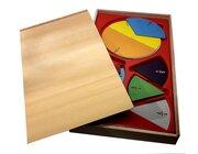 Bruchrechenkreise magnetisch, in Holzkasten mit Schiebedeckel, Demomaterial, ab 5 Jahre