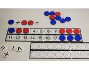 Schüler-Rechenleiste mit 22 Wendeplättchen rot/blau aus RE-Plastic°