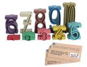 Stapelzahlen - Zahlenbausteine in Montessori-Farben RE-Wood® mit Aufgabenkärtchen