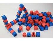 100 Steckwürfel 2 x 2 x 2 cm, aus RE-Wood® in rot / blau, 4-8 Jahre