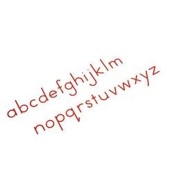 Bewegliches Alphabet, klein, Druckschrift rot (Nienhuis ein AMI-Produkt)