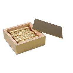 Kasten mit 45 goldenen Zehnerstangen - lose Perlen, Glas