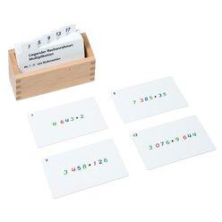 Kasten mit Aufgabenkarten für den liegenden Rechenrahmen