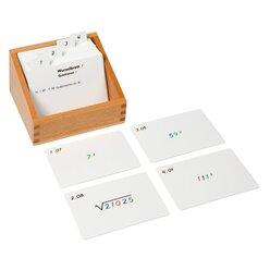 Kasten mit Aufgabenkarten für das Wurzelbrett 1 (Quadrieren)