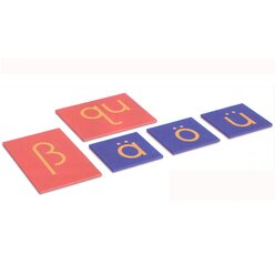 Sandpapierbuchstaben Druckschrift, Kleinbuchstaben (Ergänzungssatz für Deutsche Sprache)