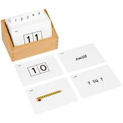 Kasten mit Aufgabenkarten für die Sequintafeln 10-19
