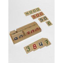 Hölzerne Zahlenkarten 1 bis 9000, Kindergarten/1.-4. Klasse