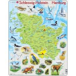 Larsen Lernpuzzle Bundesland Hamburg Schleswig Holstein (physisch mit Tieren)