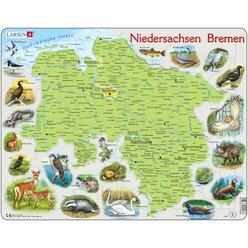 Larsen Lernpuzzle Bundesland Bremen Niedersachsen (physisch mit Tieren)
