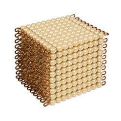 Goldkubus, 10 x 10 x 10 goldene Perlen - lose Perlen, Glas