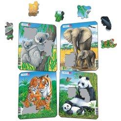 Larsen Lernpuzzle Koala, Elephant, Tiger, Panda, 4 Puzzle im Set