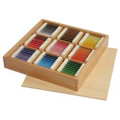 Farbtäfelchen im Holzkasten 63 Farben
