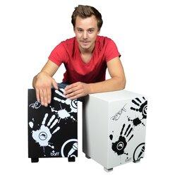 """Hocker beatbox mit Trommelfunktion, Design """"Robeat"""", schwarz, Sitzhöhe 42cm"""