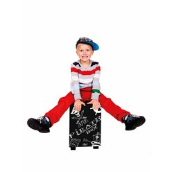 Kinderhocker mit Trommelfunktion, Piratendesign, Sitzhöhe 38cm